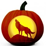 Howling Wolf and Full Moon Pumpkin Carving Pattern