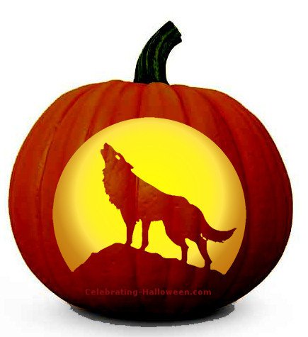howling-wolf-pumpkin-carving-pattern
