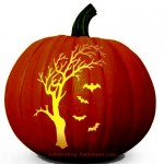 Spooky Tree and Bats Pumpkin Carving Pattern