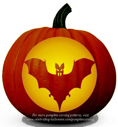 bat pumpkin carving stencil