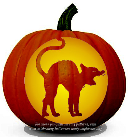 Halloween Cat Stencil - Free Pumpkin Carving Stencil/Pattern