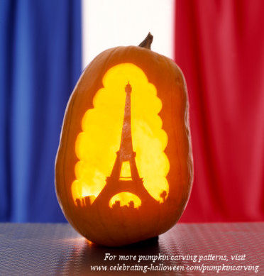 Eiffel Tower Pumpkin Carving Pattern for Halloween