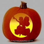 """Fairy sitting on a log"" Stencil – Free Pumpkin Carving Stencil/Pattern"