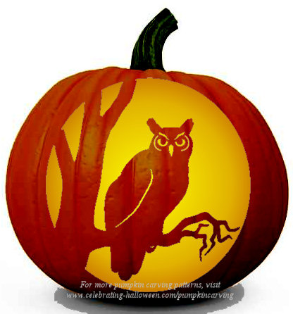 owl pumpkin carving stencil