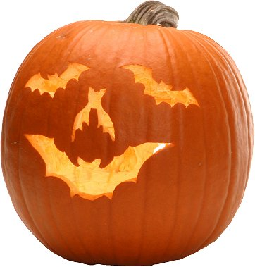 pumpkin face created using bat motifs