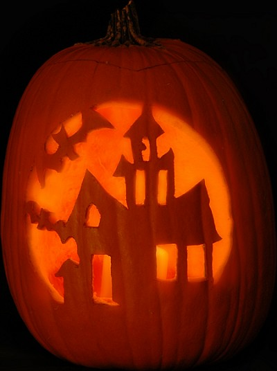 Haunted House Pumpkin Carving Pattern