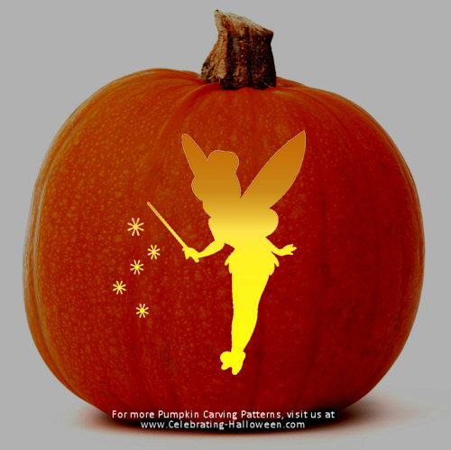 Disney tinkerbell pumpkin carving patterns for Tinkerbell pumpkin template free