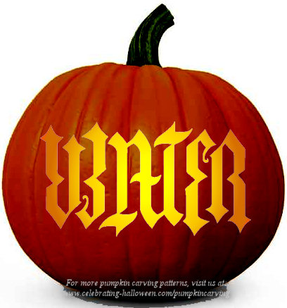 water ambigram pumpkin stencil