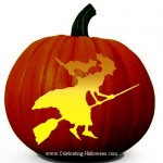 Witch on a Broom – Free Pumpkin Carving Pattern