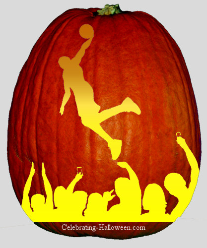 Basketball Playe with onlookers Pumpkin Stencil