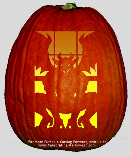Scary Gargoyle Pumpkin Carving Pattern