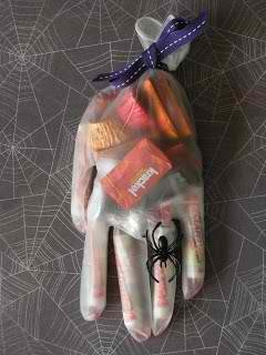 Glove candy favor bags for Halloween parties