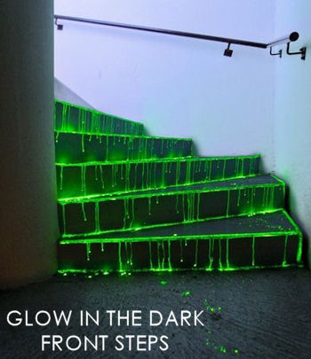 Create Glow in the Dark front steps for Halloween party Decoration