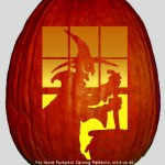 Witch Brewing in Cauldron – Free Pumpkin Carving Stencil