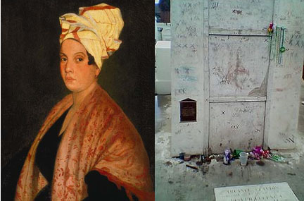 Marie Laveau and her Tomb in Saint Louis Cemetery, New Orleans
