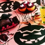 DIY Halloween Tablecloth –  Pumpkin Heads and Spider Webs