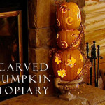 Carved Pumpkin Topiary for Outdoor Halloween Decorating or Fall Fireplaces