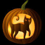 Black Cat Pumpkin Carving Stencil