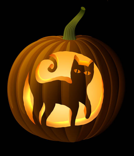 Pin pumpkin cat stencil pdf on pinterest Cat pumpkin carving patterns