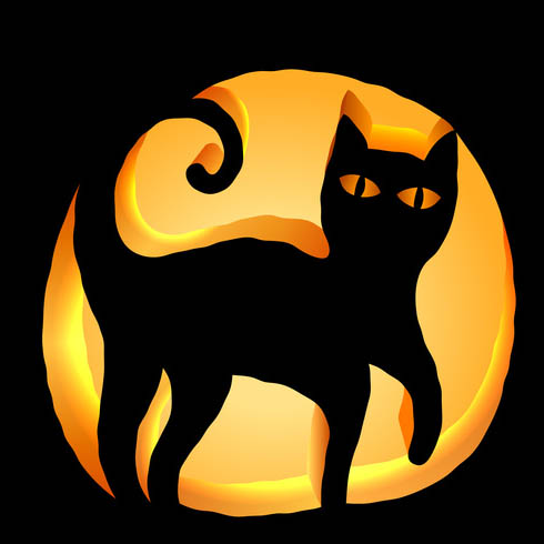 Black Cat Pumpkin Carving Stencil - Download free template